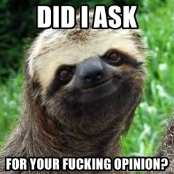 Sarcastic Sloth - Did I ask For your fucking opinion?