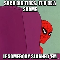 Suspicious Spiderman - Such big tires.  It'd be a shame If somebody slashed 'em