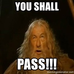 Gandalf You Shall Not Pass - You shall Pass!!!