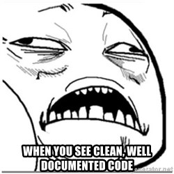 Sweet Jesus Face -  When you see clean, well documented code