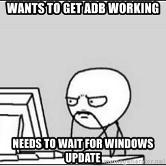 computer guy - wants to get adb working Needs to wait for windows update