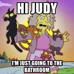 Crazy Cat Lady - Hi Judy I'm just going to the bathroom