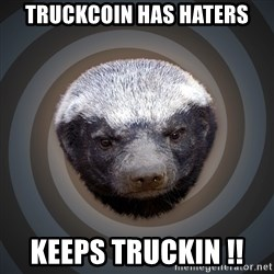Fearless Honeybadger - Truckcoin has haters keeps Truckin !!