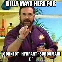 Badass Billy Mays - Billy Mays here for `connect_hydrant_subdomain()`