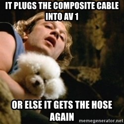 BuffaloBill - It plugs the composite cable into AV 1 Or else it gets the hose again