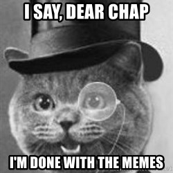 Monocle Cat - I say, dear chap I'm done with the memes
