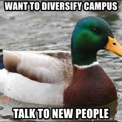 Actual Advice Mallard 1 - Want to Diversify Campus Talk to new people