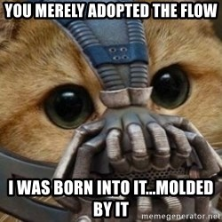 bane cat - you merely adopted the flow i was born into it...molded by it