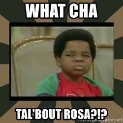 What you talkin' bout Willis  - WHAT CHA  TAL'BOUT ROSA?!?