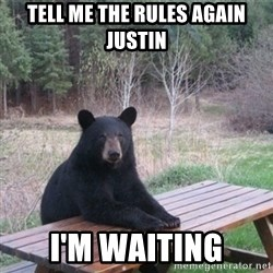Patient Bear - Tell me the rules again Justin I'm waiting