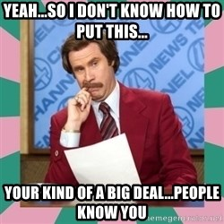 anchorman - Yeah...so i don't know how to put this... Your kind of a big deal...people know you