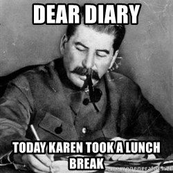 Dear Diary - dear diary today karen took a lunch break