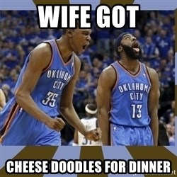 Durant & James Harden - Wife got Cheese doodles for dinner