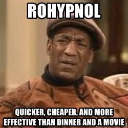 Confused Bill Cosby  - Rohypnol Quicker, cheaper, and more effective than dinner and a movie