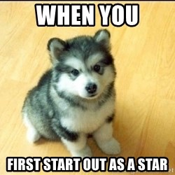 Baby Courage Wolf - when you  first start out as a star