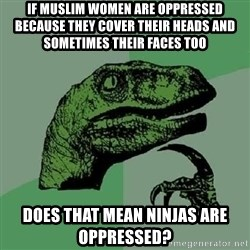 Philosoraptor - IF MUSLIM WOMEN ARE OPPRESSED BECAUSE THEY COVER THEIR HEADS AND SOMETIMES THEIR FACES TOO DOES THAT MEAN NINJAS ARE OPPRESSED?