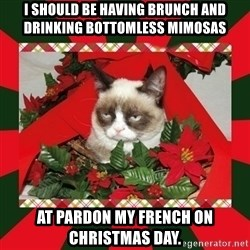 GRUMPY CAT ON CHRISTMAS - i should be having brunch and drinking bottomless mimosas at pardon my french on christmas day.