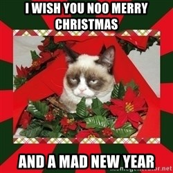 GRUMPY CAT ON CHRISTMAS - I wish you NOO merry  christmas  and a mad new year