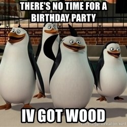 Madagascar Penguin - There's no time for a birthday party  Iv got wood