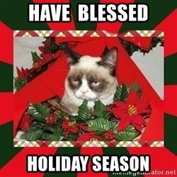 GRUMPY CAT ON CHRISTMAS - Have  BLESSED HOLIDAY SEASON