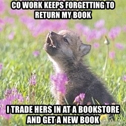 Baby Insanity Wolf - Co work keeps forgetting to return my book I trade hers in at a bookstore and get a new book