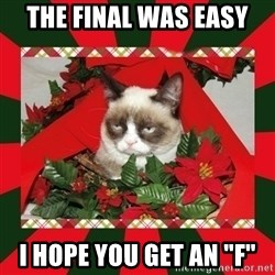 "GRUMPY CAT ON CHRISTMAS - The final was easy I hope you get an ""F"""