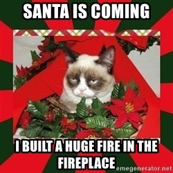 GRUMPY CAT ON CHRISTMAS - santa is coming i built a huge fire in the fireplace