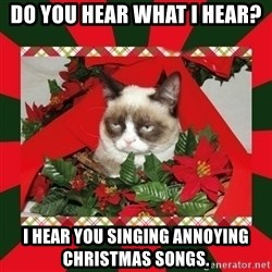 GRUMPY CAT ON CHRISTMAS - do you hear what i hear? i hear you singing annoying christmas songs.