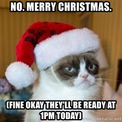 Grumpy Cat Santa Hat - No. Merry Christmas. (fine okay they'll be ready at 1pm today)