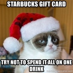 Grumpy Cat Santa Hat - starbucks gift card try not to spend it all on one drink