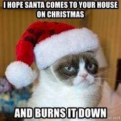 Grumpy Cat Santa Hat - I hope santa comes to your house on christmas And burns it down