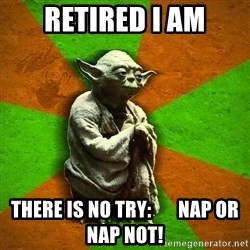 Yoda Advice  - retired i am There is no try:       Nap or nap not!