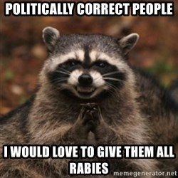 evil raccoon - politically correct people i would love to give them all rabies