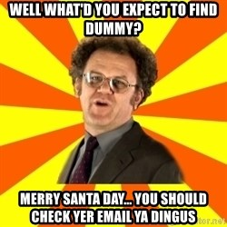 Dr. Steve Brule - Well what'd you expect to find dummy? Merry santa day... you should check yer email ya dingus