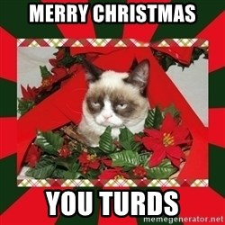 GRUMPY CAT ON CHRISTMAS - Merry Christmas You Turds