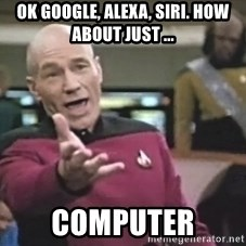 Captain Picard - OK Google, alexa, siri. how about just ... Computer