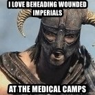 Skyrim Meme Generator - I LOVE BEHEADING WOUNDED IMPERIALS At the medical camps