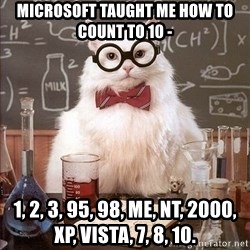 Chemistry Cat - microsoft taught me how to count to 10 - 1, 2, 3, 95, 98, ME, NT, 2000, XP, Vista, 7, 8, 10.