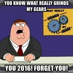 What really grinds my gears - You know what really grinds my gears You 2016! Forget you!