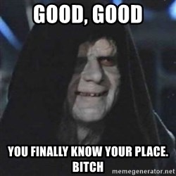 Sith Lord - good, good you finally know your place. bitch