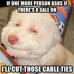 Troll dog - IF ONE MORE PERSON ASKS IF THERE'S A SALE ON I'LL CUT THOSE CABLE TIES