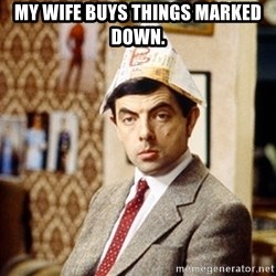 Mr Bean Christmas Hat - My wife buys things marked down.