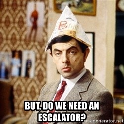 Mr Bean Christmas Hat -  but, do we need an escalator?