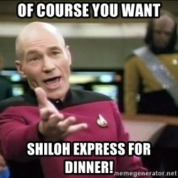 Why the fuck - Of course you want Shiloh Express for dinner!