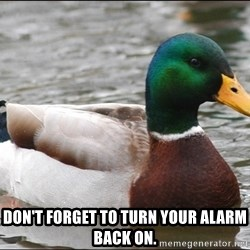 Actual Advice Mallard 1 -  Don't forget to turn your alarm back on.