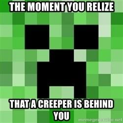 Minecraft Creeper Meme - the moment you relize that a creeper is behind you