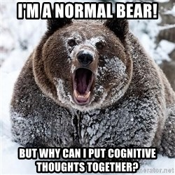 Clean Cocaine Bear - I'm a normal bear! But why can I put cognitive thoughts together?