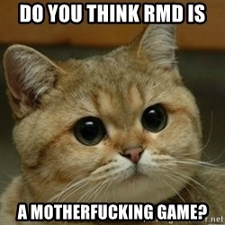 Do you think this is a motherfucking game? - Do you think RMD is a motherfucking game?