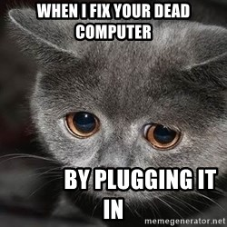 sad cat - When I fix your dead computer             By plugging it in