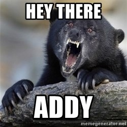 Insane Confession Bear - hey there addy